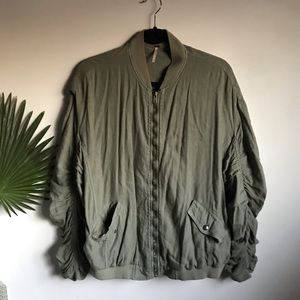 Free People Ruched Linen Bomber Coat